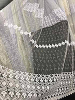 Фатиновая тюль з білою вишивкою, висота 2,8 м ( 7АRS19 ), фото 8