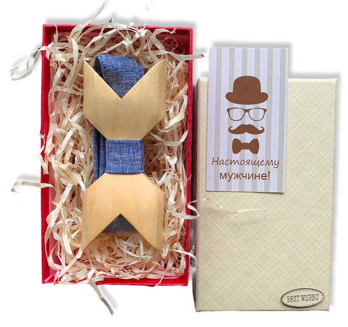Деревянная бабочка - Галстук объемная в подарочной упаковке 8071