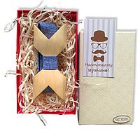 Деревянная бабочка - Галстук объемная в подарочной упаковке 8071, фото 1