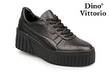 Женские черные кожаные кроссовки на платформе Dino Vittorio