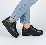 Женские черные кожаные кроссовки на платформе Dino Vittorio, фото 2