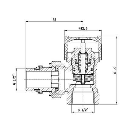 """Клапан термостатический SD Forte 1/2"""" с антипротечкой для радиатора угловой SF238W15, фото 2"""