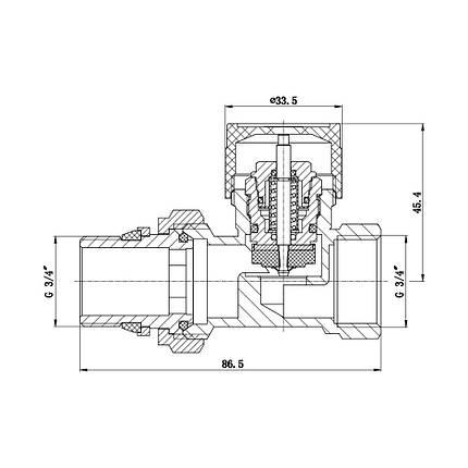 """Клапан термостатический SD Forte 3/4"""" с антипротечкой для радиатора прямой SF239W20, фото 2"""