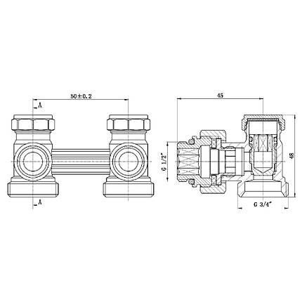 """Кран буксовый SD Forte 3/4""""х1/2"""" для радиатора нижний угловой SF252W15, фото 2"""