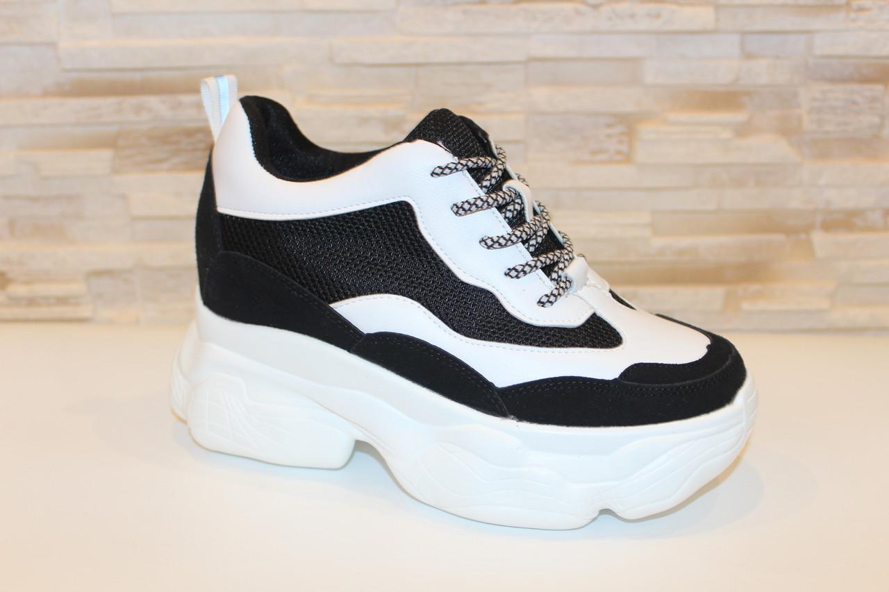 Кроссовки женские белые с черными вставками Т1261