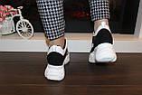 Кроссовки женские белые с черными вставками Т1261, фото 4