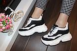 Кроссовки женские белые с черными вставками Т1261, фото 6