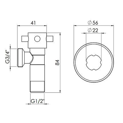 "Кран приборный SD Forte 1/2""х3/4"" ручка ""крест"" SF3451520, фото 2"