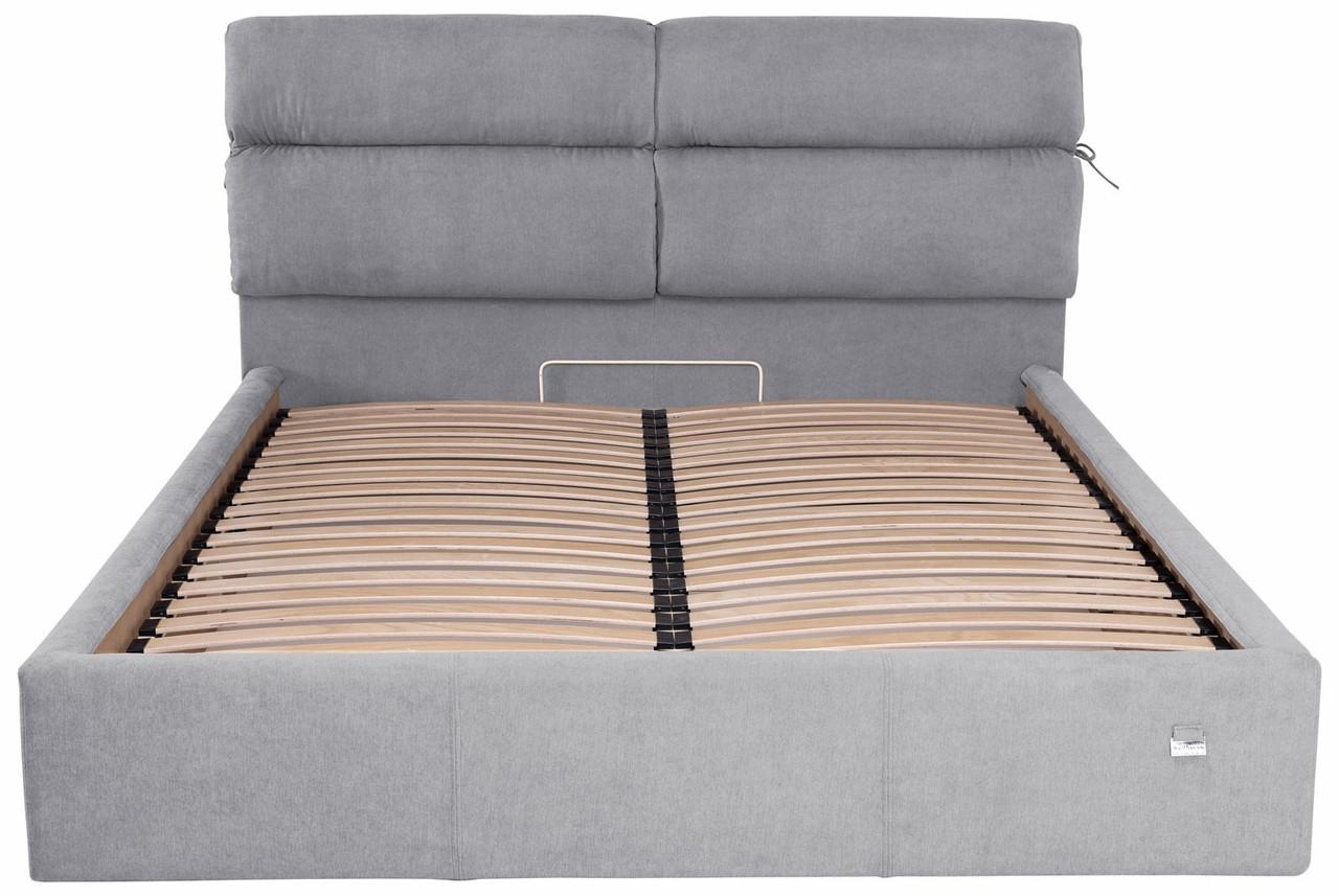 Ліжко Двоспальне Edinburgh Comfort 160 х 200 см Rosto 93 З підйомним механізмом і нішею для білизни Сіра