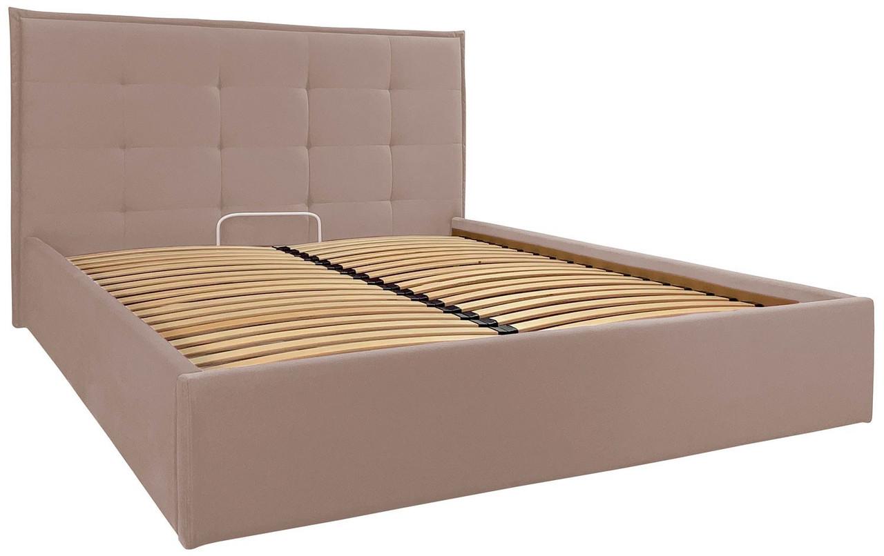 Кровать Двуспальная Monika Comfort 160 х 200 см Rosto 13 С подъемным механизмом и нишей для белья Бежевая