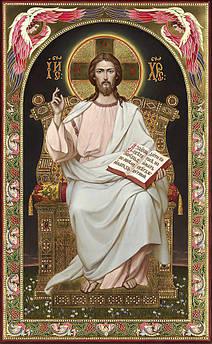 Алмазна вишивка, мозаїка Чарівний діамант ікона Ісус на престолі КДІ-0974 65х40 см 30цв Квадратні стрази