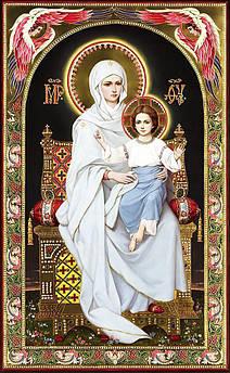 Алмазна вишивка, мозаїка Чарівний діамант ікона Богородиця на престолі КДІ-0973 65х40 см 30цв Квадратні
