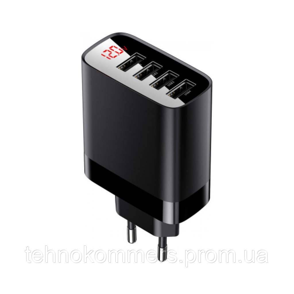 Мережевий зарядний пристрій Baseus Mirror Lake Digital Display 4USB Travel Charger Black