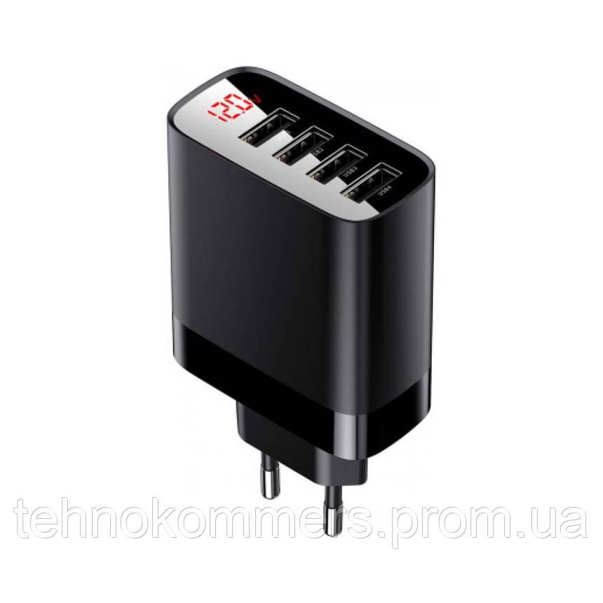 Мережевий зарядний пристрій Baseus Mirror Lake Digital Display 4USB Travel Charger Black, фото 2