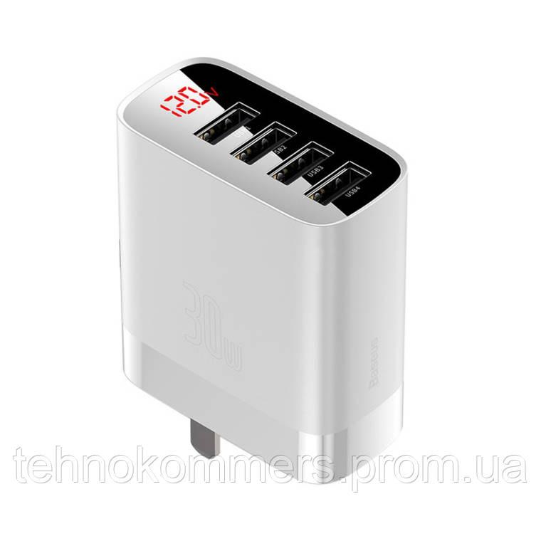Мережевий зарядний пристрій Baseus Mirror Lake Digital Display 4USB Travel Charger White, фото 2
