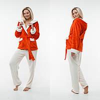 Женская пижама с капюшоном. Жакет + штаны. Цвет: красный и молочный