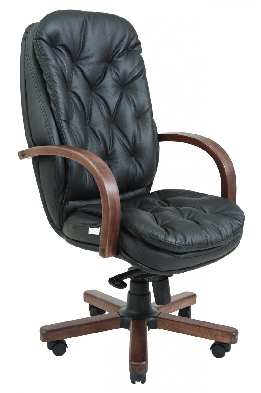 Офисное Кресло Руководителя Venice Кожа Люкс Wood М3 MultiBlock Черное
