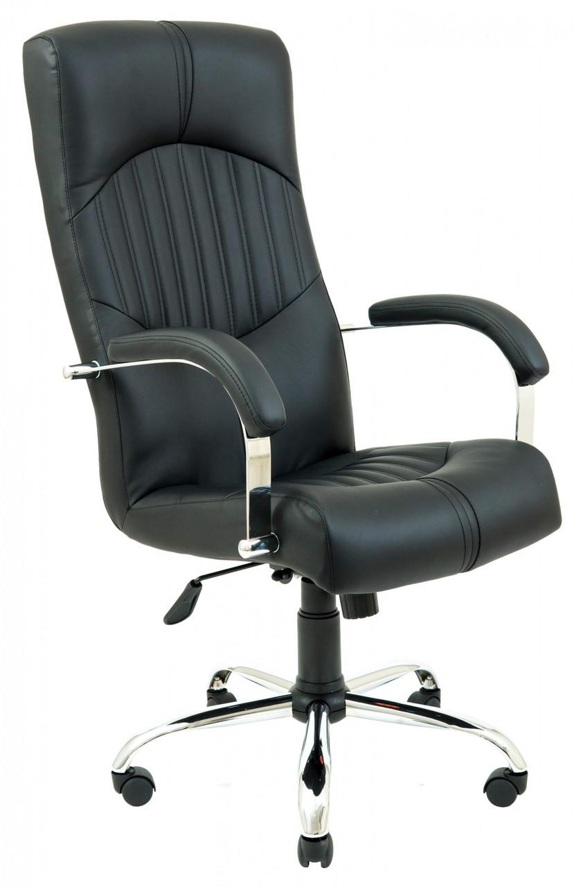 Офисное Кресло Руководителя Hermes Кожа Lux Хром М2 AnyFix Черное