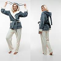 Женская пижама с капюшоном. Укороченный халат с капюшоном + штаны. Цвет: серый и молочный