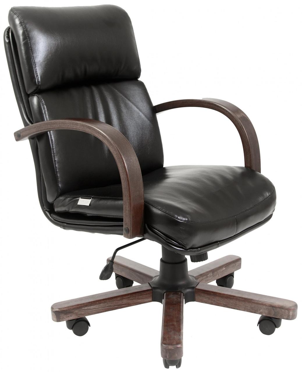 Офисное Кресло Руководителя Dakota Кожа Комбо Lux Wood М3 MultiBlock Черное