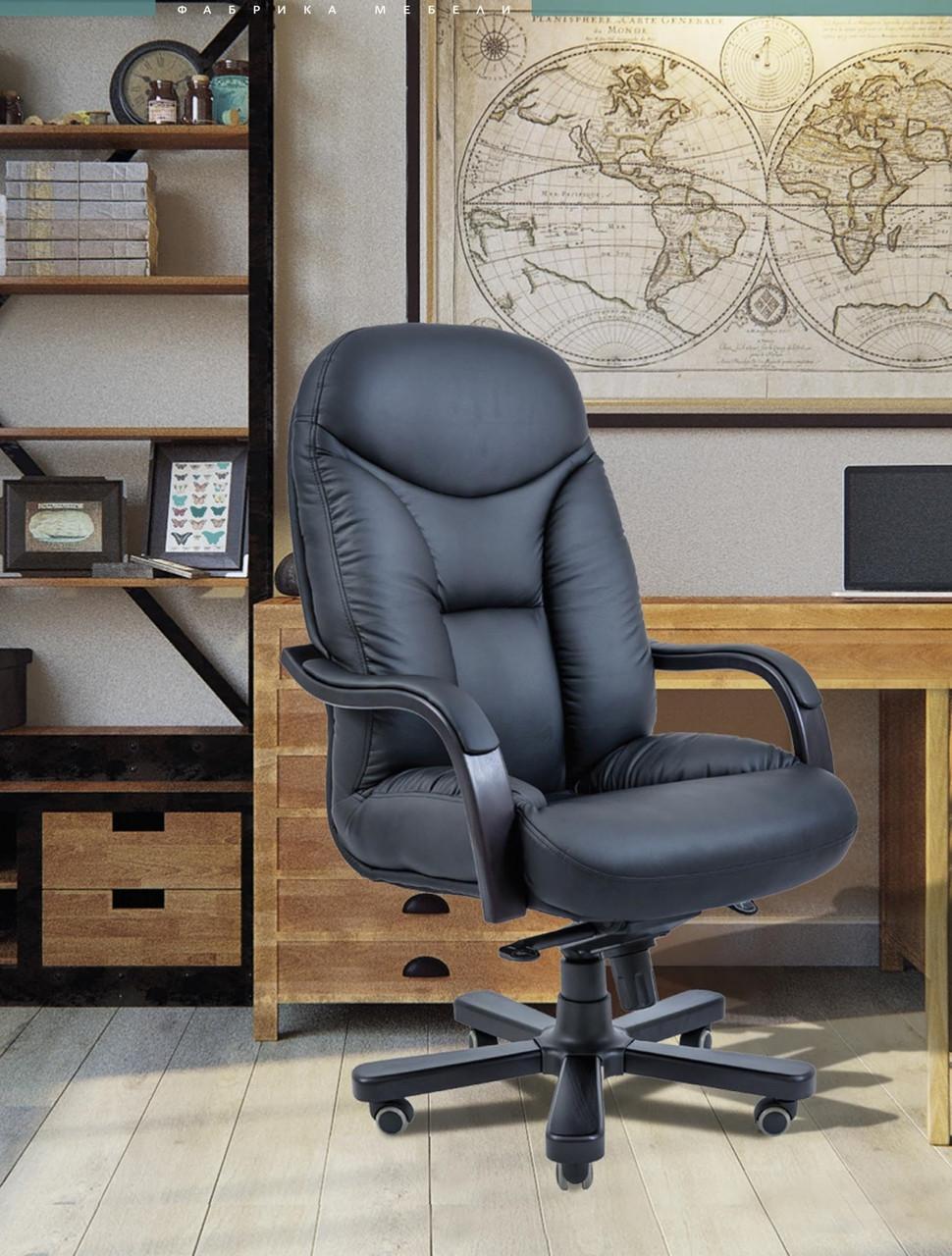 Офисное Кресло Руководителя Maximus Кожа Wood Lux М2 AnyFix Черное