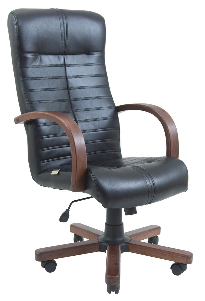 Офисное Кресло Руководителя Orion Кожа Люкс Wood М2 AnyFix Черное