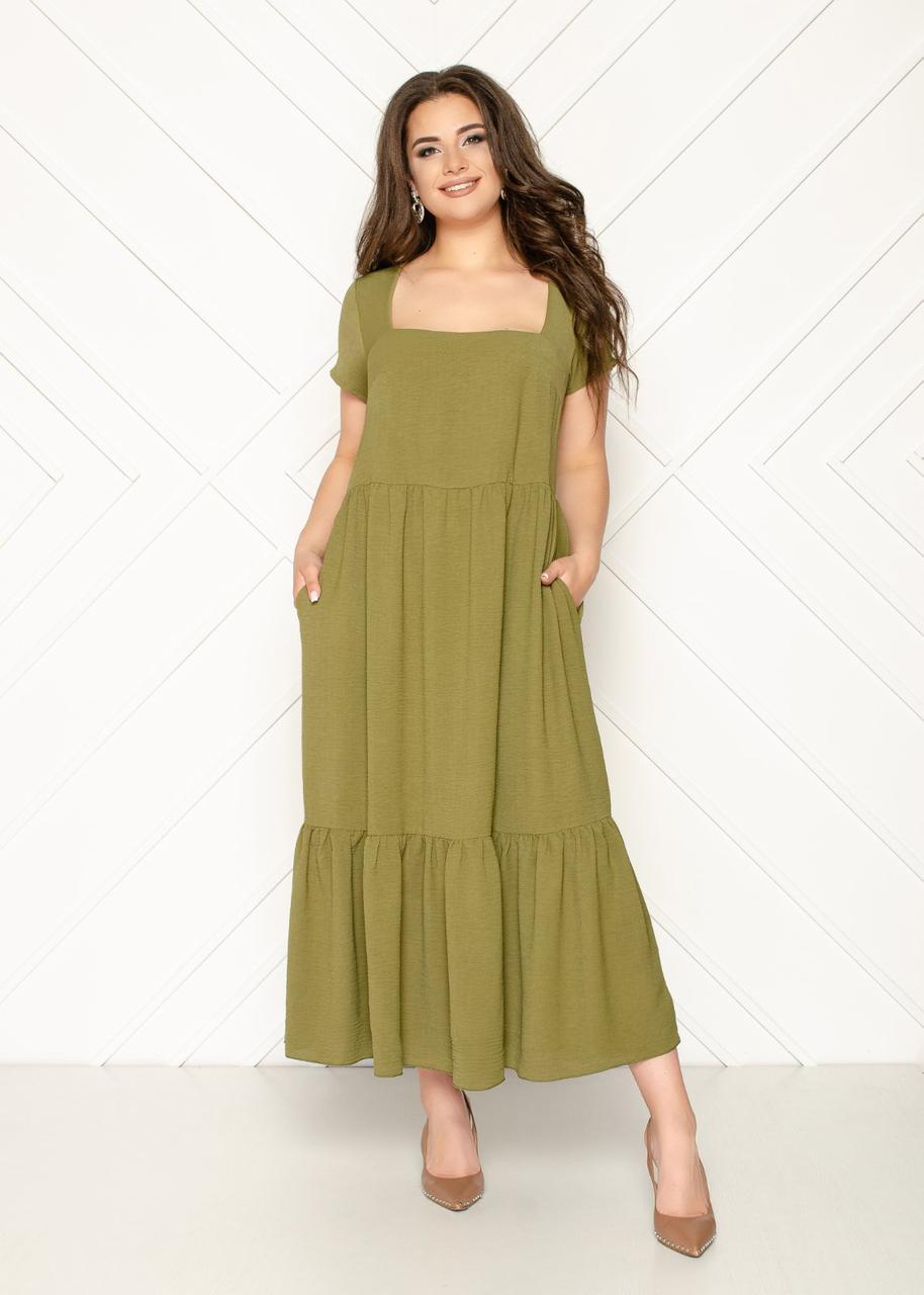 Женское платье батал, американский креп жатка, р-р 50; 52; 54; 56 (хаки)