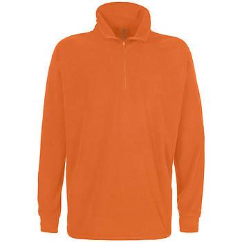 Мужская однотонная флисовая кофта цвета оранжевый с воротом на змейке, размер XS