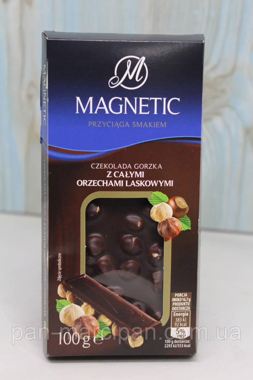 Чорний шоколад з цілим лісовим горіхом Magnetic 100г