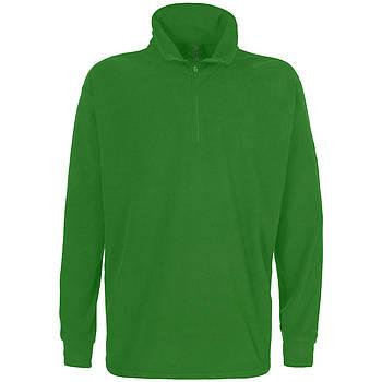 Мужская однотонная флисовая кофта цвета зеленый с воротом на змейке, размер XS