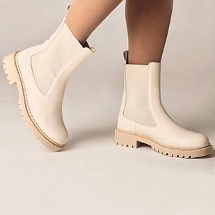 Ботинки женские кожаные на низком ходу Woman's heel молочные для повседневного ношения
