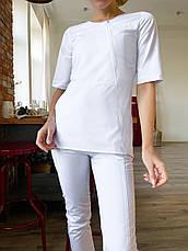 Медицинская куртка Нори. Белый. На молнии. Стрейч. Рукав 3/4. Satal, фото 3