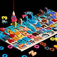 Подарок ребенку деревянная развивающая игрушка геометрика рыбалка 6 рядов для раннего развития