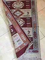 Доріжка килимок двохсторінна в червоних тонах котон 120*60