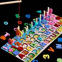 Подарок ребенку деревянная развивающая игрушка геометрика рыбалка 5 рядов для раннего развития