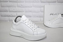 Белые женские кроссовки натуральная кожа на платформе MAXUS