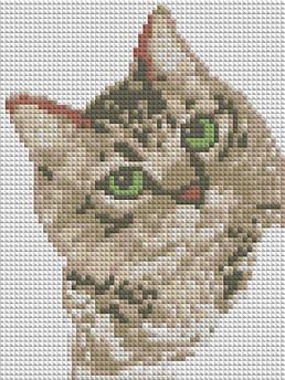 Алмазна вишивка, мозаїка Чарівний діамант Котик КДІ-0754 20х15 см 8цв Квадратні стрази повна зашивання