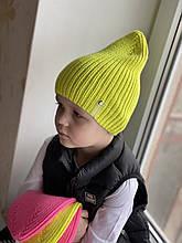 Демисезоннаяяркая детская вязаная неоновая шапочка для мальчика и девочки весна-осеньиз 100% мериносаручной