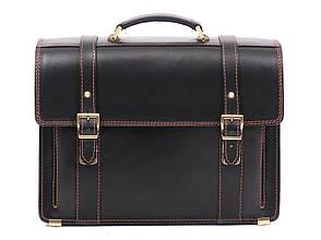 Деловой эксклюзивный мужской кожаный портфель ручной работы с плечевым ремнем черный с коричневой нитью