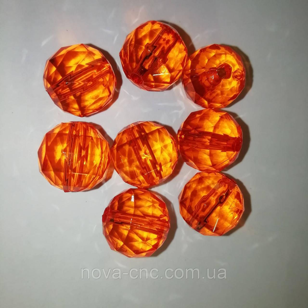 """Бусины акрил """"Шар треугольная грань"""" оранжевый 14 мм 500 грамм"""