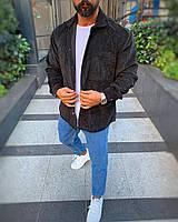 Рубашка мужская Оверсайз вельветовая черного цвета. Стильная мужская сорочка Оверсайз вельветовая черная.