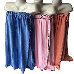 """Парео (полотенце) женское банное микрофибра """"Бантик"""" голубое, Sauna Pro"""