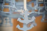 Люстра штурвал деревянная серо-голубая с компасом  на 6 лампочек, фото 2