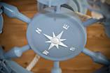 Люстра штурвал деревянная серо-голубая с компасом  на 6 лампочек, фото 4