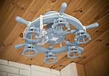 Люстра штурвал деревянная серо-голубая с компасом  на 6 лампочек, фото 5