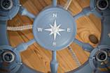 Люстра штурвал деревянная серо-голубая с компасом  на 6 лампочек, фото 8