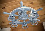Люстра штурвал деревянная серо-голубая с компасом  на 6 лампочек, фото 7