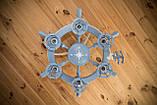 Люстра штурвал деревянная серо-голубая с компасом  на 6 лампочек, фото 6