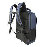 Рюкзак городской стильный синий Ronguda c USB выходом и отделением под ноутбук, фото 2