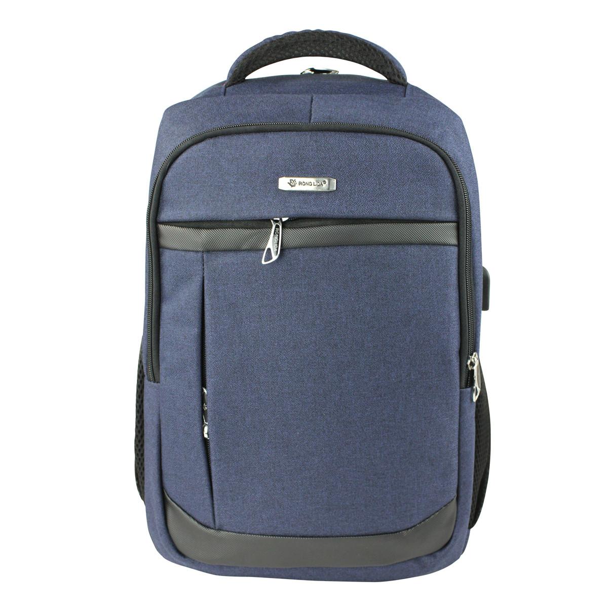Рюкзак городской стильный синий Ronguda c USB выходом и отделением под ноутбук